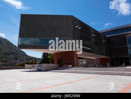 View of the facade of the LAC Lugano Arte e Cultura cultural center in Lugano - Lugano, Lake Lugano, Lugano, Ticino, - Stock Photo