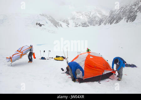 Mountaineers are putting up tents in a blizzard on the lower Kahiltna glacier on Denali in Alaska. - Stock Photo