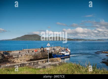 Clare Island seen from Roonah Quay in county Mayo, Ireland - Stock Photo