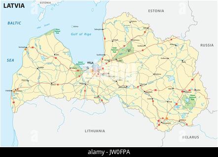 Latvia road and National Park map - Stock Photo