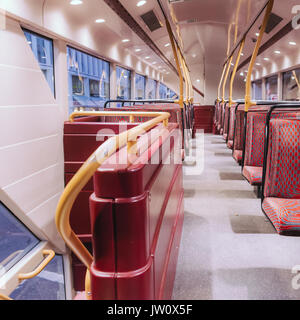 On the second floor of a modern London double decker bus (Routemaster) - Stock Photo