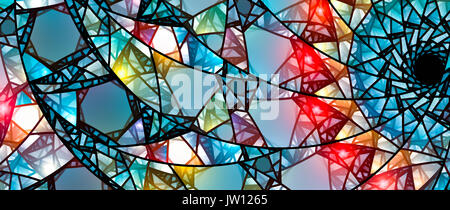 Colorful glowing stained glass, computer generated abstract background, 8k widescreen, 3D rendering - Stock Photo