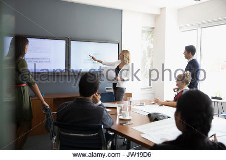 Businesswoman leading conference room meeting at television monitor - Stock Photo