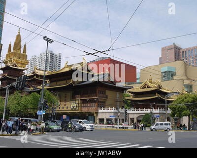 Buddhist 'Temple of Peace and Tranquility' on the West Nanjing Road in Shanghai was plastic manufacture during cultural - Stock Photo