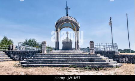 Cetinje, Montenegro - Mausoleum of the Montenegrin Prince-bishop Danilo Petrovic at mountain peak named Eagle's - Stock Photo