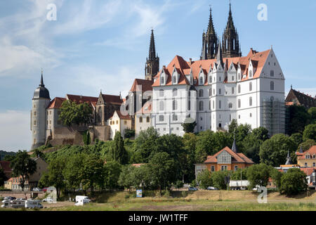 The towering Gothic Albrechtsburg Castle and Meissen Cathedral on the banks of the River Elbe - Stock Photo