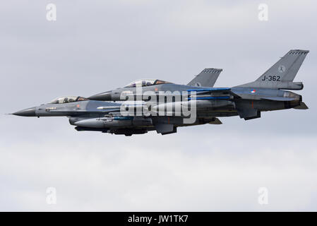 F-16s of the Royal Netherlands Air Force. Dutch F-16AM Fighting Falcons. Space for copy - Stock Photo
