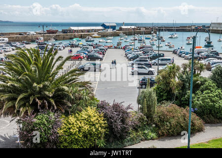 Car Park next to the harbour in Penzance, with the sea beyond, Cornwall, England, UK. - Stock Photo
