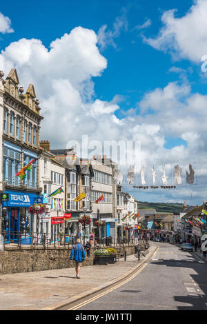 Extensive shopping facilities in Market Jew Street in the centre of Penzance, Cornwall, England, UK. - Stock Photo
