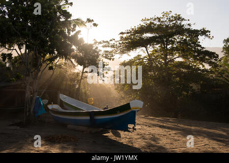 Fishing canoes in Castelhanos, Ilhabela, Brazil - Stock Photo