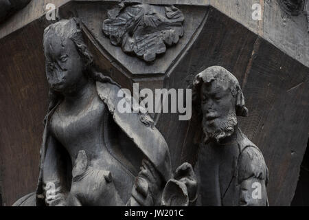 Medieval carved figures in the old town part of Tours, on the Loire, France - Stock Photo