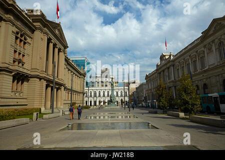 Palacio de los Tribunales de Justicia de Santiago, and Plaza Montt-Varas, Santiago, Chile, South America - Stock Photo
