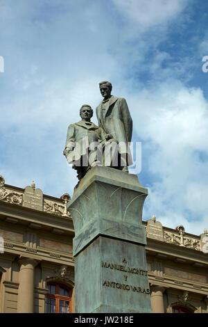 Statue of Manuel Montt and Antonio Varas, Plaza Montt-Varas, Santiago, Chile, South America - Stock Photo