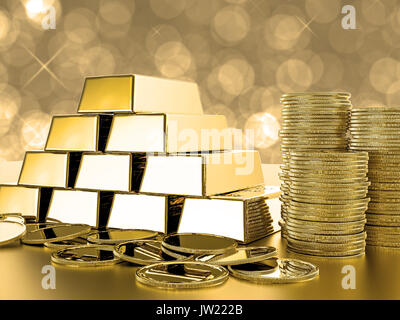 stack of gold coins and bullions on gold background