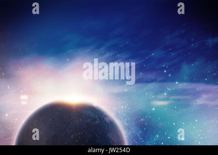 Computer graphic image of planet earth against digitally generated image of powder - Stock Photo