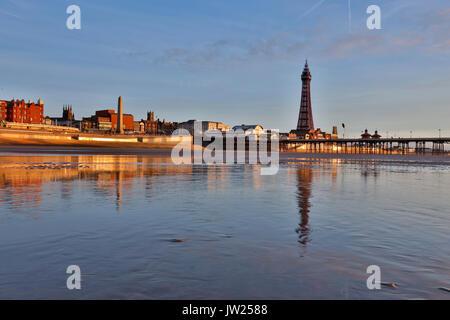 Blackpool; Tower; Shore; Lancashire; UK - Stock Photo