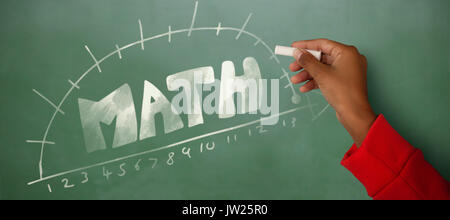 Cropped image of girl with hand raised holding chalk against green chalkboard - Stock Photo