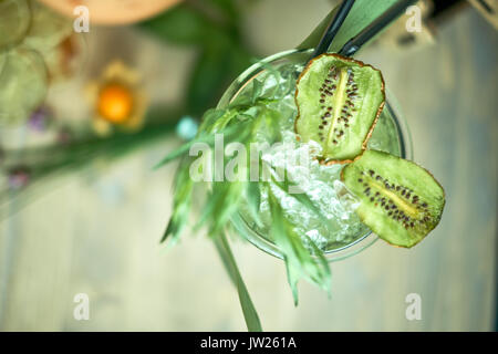 Creamy lemonade in a decanter with ice jpg - Stock Photo