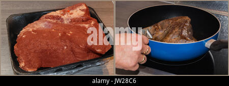 Work steps, meat preparation. On the left the raw juicy roast meat from the horse and on the right side the fresh - Stock Photo