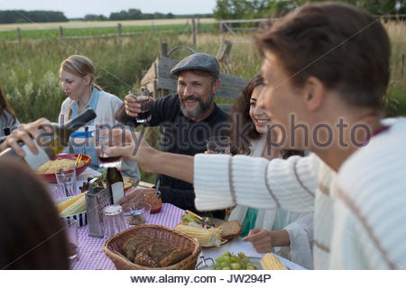 Friends drinking red wine and eating, enjoying garden party dinner - Stock Photo