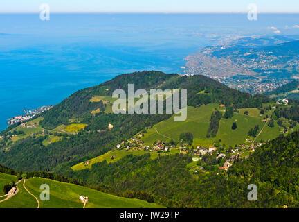 View from Pass Col de Jaman over Les Avants and Lake Geneva near Vevey, Vaud, Switzerland - Stock Photo