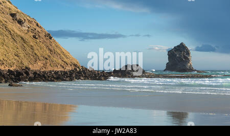 Sandy beach with rocks in the sea, Sandfly Bay, Otago, New Zealand - Stock Photo