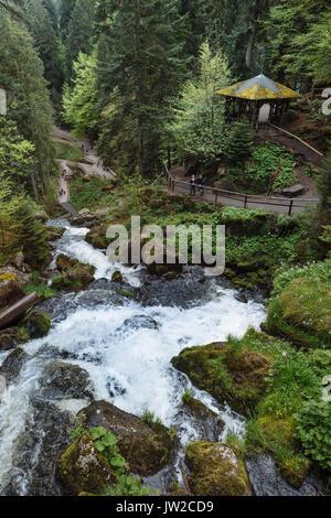 Triberg Waterfalls, Triberg, Black Forest, Baden-Württemberg, Germany - Stock Photo