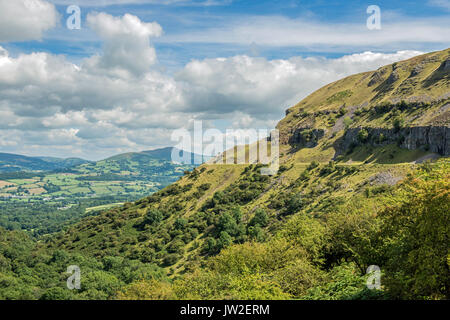 Llangattock Escarpment and the Sugarloaf in the Brecon Beacons National Park, south Wales on a sunny summer day - Stock Photo