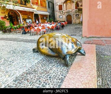 Malcesine, Italy - September 21, 2014:The town on Lake Garda in Region Veneto. Italy - Stock Photo