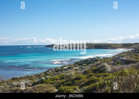 Coastal view along the Rottnest Island cycle path, Western Australia - Stock Photo