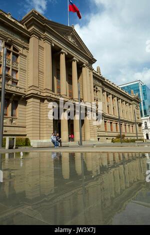Palacio de los Tribunales de Justicia de Santiago, Plaza Montt-Varas, Santiago, Chile, South America - Stock Photo