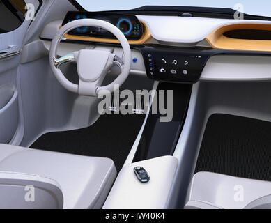 Smart car key on electric car\'s passenger seat. 3D rendering image ...