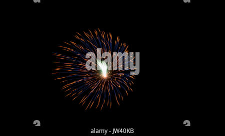 Single Fireworks explotion with dark black night in the background - Stock Photo