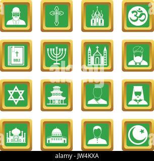 Religious symbol icons set green - Stock Photo