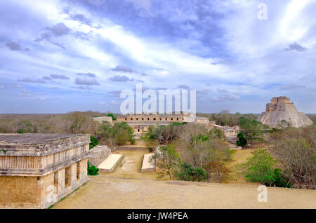 Ancient Mayan temples and pyramids in Uxmal, Mexico - Stock Photo
