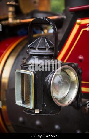 Headlight lantern on William Foster & Co. showman's road locomotive steam engine, Riverside Festival, Victoria Embankment - Stock Photo