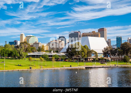 Adelaide, Australia - December 2, 2016: Adelaide city skyline on a day viewed through Torrens river in Elder Park - Stock Photo