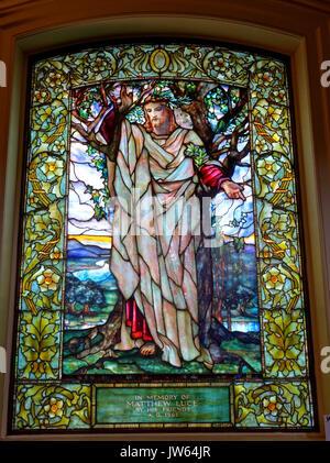 08 Sermon on the Mount, Luce Memorial Window, 1902, Tiffany Studios   Arlington Street Church   Boston, Massachusetts - Stock Photo