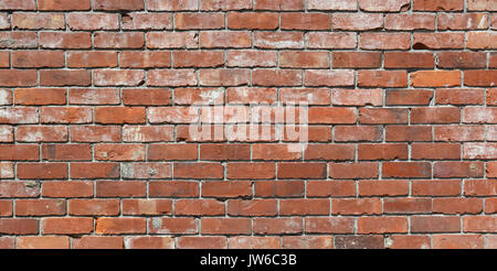 Long brick wall background - an old red brick wall with lots of character. Ideal urban modeling background for fashion - Stock Photo