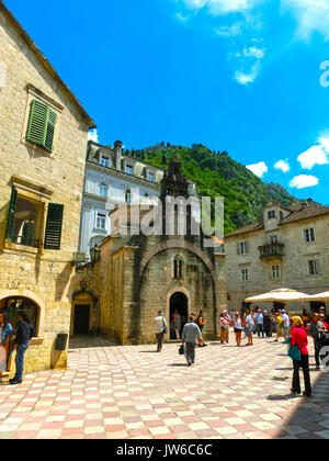 Kotor, Montenegro - May 07, 2014: St. Luke's Church on St. Luke's square - Stock Photo