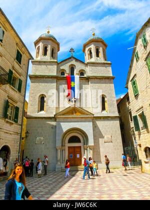 Kotor, Montenegro - May 07, 2014: St. Nicholas Serbian Orthodox Church at Kotor's Old Town. - Stock Photo