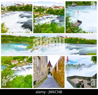 Largest waterfall in Europe by River Rhein in Switzerland - Stock Photo