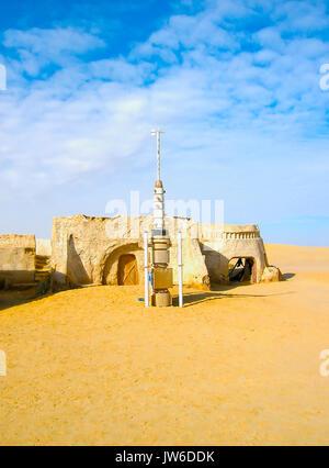 Sahara, Tunisia - January 03, 2008: Abandoned sets for the shooting of the movie Star Wars - Stock Photo