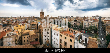 Aerial panoramic view of the old town in Valencia from Santa Caterina tower, Spain - Stock Photo