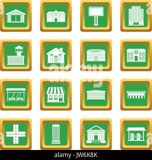 City infrastructure items icons set green - Stock Photo