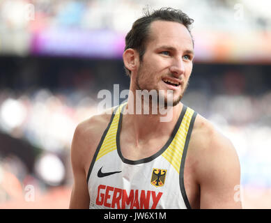 London, UK. 11th Aug, 2017. German decathlete Kai Kazmirek in action at the 100m run at the IAAF World Championships, - Stock Photo