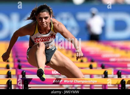 London, UK. 11th Aug, 2017. The German athlete Pamela Dutkiewicz in action in the women's 100 m hurdles qualifier - Stock Photo