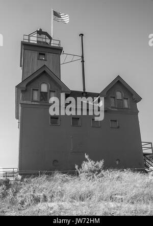 July 13, 2017 - Holland, MI, U.S - BIG RED LIGHTHOUSE in HOLLAND, MICHIGAN is a popular tourist spot. (Credit Image: © Alexis Simpson via ZUMA Wire) Stock Photo