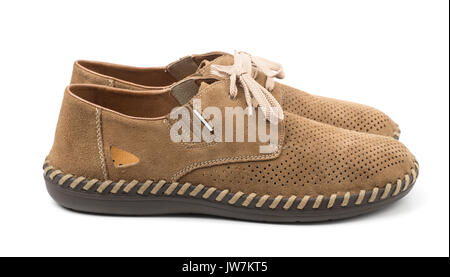Pair of suede shoes  isolated on white - Stock Photo