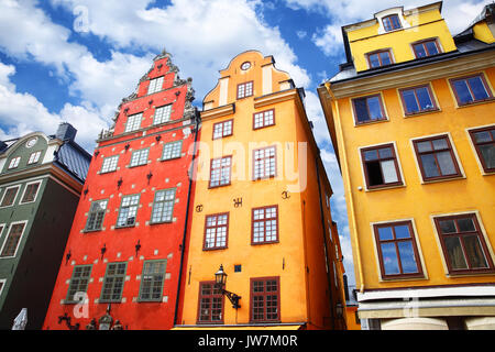 The most famous houses in Stockholm on Stortorget square, Sweden - Stock Photo